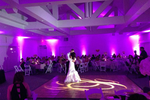 First Dance with uplighting and a monogram